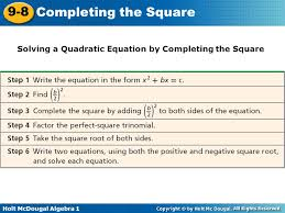7 solving a quadratic equation by completing the square solving a quadratic equation by completing the square