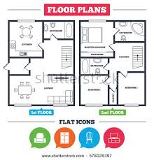Outline Vector Simple Furniture Plan Floor Stock Vector 126721148 Furniture Icons For Floor Plans