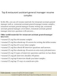 Some Samples Of Resume Some General Interview Questions Awesome 24 Super Waitress Resume