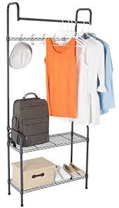 Coat Stand And Shoe Rack TOPMAX Multipurpose Steel Clothes Coat Stand Shoe Rack Hats Bags 94