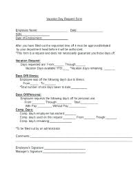 Personal Time Off Request Form Sample Letter To Employer Requesting Vacation Pay Printable Time Off