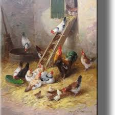 rooster hens and little chicks in chicken coop by neuville pi on chicken coop wall art with best rooster wall art products on wanelo