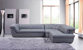 com 397 modern grey italian leather sectional sofa with right chaise kitchen dining