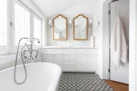 White Bathroom with Gold Vanity Mirrors Transitional Bathroom