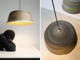 michael wolke creates sculptural pendant lamps from strips of old cardboard inhabitat green design innovation architecture green building