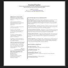 Preschool Teacher Resume Objective Examples Of Resumes For