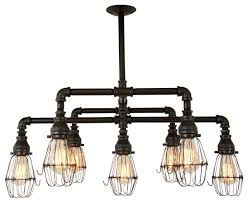 hampton 7 light chandelier with wire cages industrial chandeliers by loft essentials