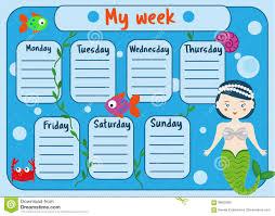 Weekly Timetable Planner Kids Timetable With Cute Mermaid Character Weekly Planner