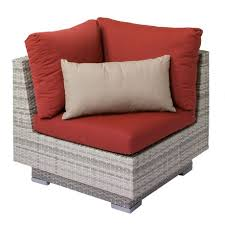 corliving azure outdoor patio wicker corner chair with red sunbrella cushions