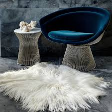 natural white himalyan goat fur hide floor rug
