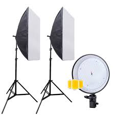 professional 5500k led photographic lighting kit photo studio equipment and 2pcs softbox diffuser and 2pcs light