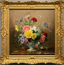 still life of flowers in a vase oil painting by albert williams