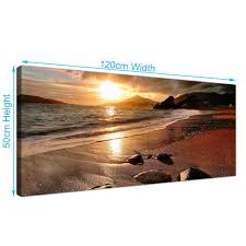 120x50cm sunset beach landscape canvas wall art picture prints decor