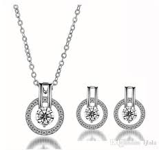 whole fashion full diamond star necklace earrings set simple fashion zircon jewelry star necklace full eyes delicate exquisite fashion accessories heart