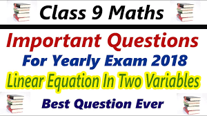 class 9 maths imp question for yearly exam 2018 with solution linear equation in two variables rbse