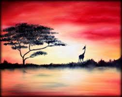 16 x20 african sunset oil painting the purple canvas