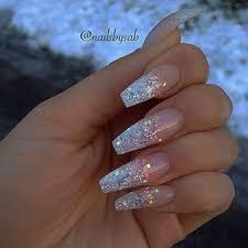 cute waterfall long nail design callmeniecyx nails acrylic coffin glitter acrylic nail