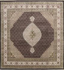 geometric wool silk highlight square tebriz mahi persian oriental area rug 10x10 for