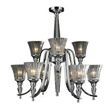 innsbruck collection 9 light chrome finish and clear crystal candle chandelier two 2 tier 29