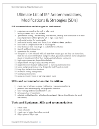 8 15 19 Iep Accommodations And Strategies Printable