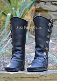 black leather boots custom leather moccasins renaissance image