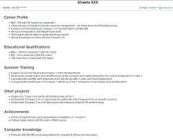 Mba Freshers Resume Format Hr Fresher Resume Template Sample For ...