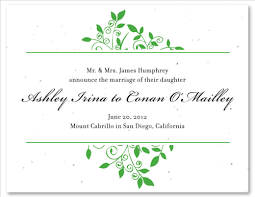 Wedding Announcement Photo Cards Green Wedding Announcement Cards On Seeded Paper Andromedas Vine