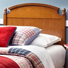 fashion bed group danbury walnut queen wooden headboard panel with curved topped rail and carved finials