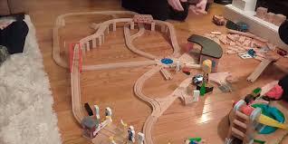 melissa doug deluxe wooden railway set in the use