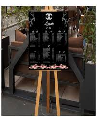 Table Seating Chart Baby Shower Diy Chanel Inspired Seating Chart Black With Pink Flowers And Diamond Logo Great For All Occasions Weddings Bridal Showers Baby Showers Sweet