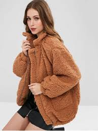 outfit slip pockets faux fur coat light brown s