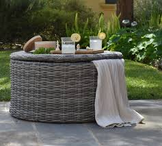 outdoor wicker storage coffee table
