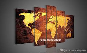 hand painted canvas world map wall art large oil paintings set decoration home modern abstract picture brown golden canvas art by