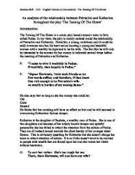 an analysis of the relationship between petruchio and katherina   taming of the shrew page 1 zoom in