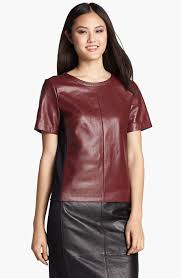 the picture does not do this leather top justice leather front top by halogen for nordstrom the beautiful crimson red leather front and a ponte knit