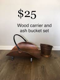 copper fireplace tools wood carrier and ash bucket