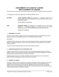 Assignment Letter Impressive Assignment Of Lease By Lessee With Consent Of Lessor Template