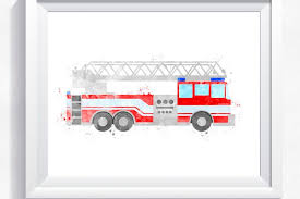 watercolor fire truck fire engine printable fire truck wall art rescue truck print