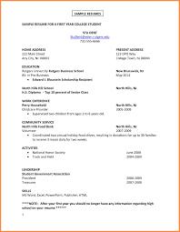 College Freshman Resume Resume Name