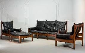 scandinavian leather furniture. Mid-Century Scandinavian Black Leather Sofa Set, 1960s Furniture A