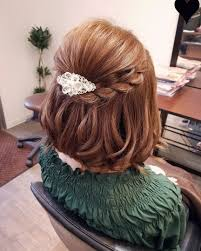平原さんのヘアスタイル 編み込みボブアレンジ Tredina 結婚式