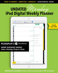 Week By Week Planner Undated Digital Weekly Planner For Goodnotes Horizontal Days