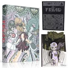 junko mizuno s triad pop up book special edition available with laser etched acrylic slip