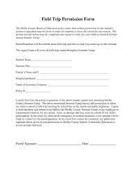 Field Trip Permission Slip Fill Online Printable