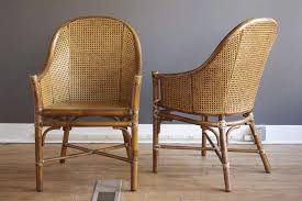 mid century modern set of six rattan cane dining chairs by mcguire