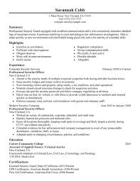 Law Enforcement Resume Templates Interesting Security Resume Professional Security Officer Law Enforcement And