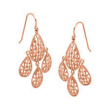 just gold chandelier mesh earrings in 10k rose gold