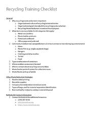 Recycling Training Checklist