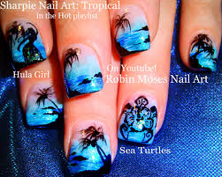 Easy Hot Neon Blue Nails! Tropical Beach Vacation Nail Art Design ...