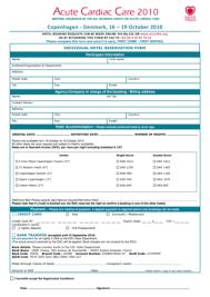 Fillable Online Escardio Acute Cardiac Care 2010 - Individual Hotel ...